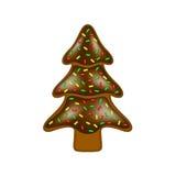 Julpepparkaka i form av trädet med choklad Arkivbild