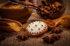 Julpepparkaka med ingredienser och kryddor Royaltyfria Bilder