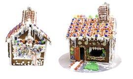 julpepparkakafönsterrutor semestrar husförberedelser som sätter treeskvinnan Royaltyfria Bilder