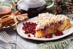 Julpepparkakakaka bland traditionella garneringar arkivfoton