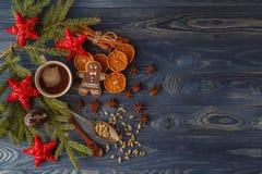 Julpepparkakakakor med isläggning, kopp te, gran-träd b arkivfoton