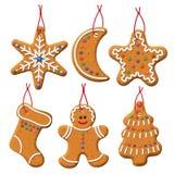 Julpepparkakauppsättning royaltyfri illustrationer