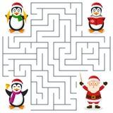 Julpingvinlabyrint för ungar Arkivfoto