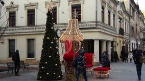 JulPiotrkowska gata i Lodz, Polen 4k stock video