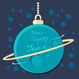 Julplanetstruntsak med hälsning för nytt år Royaltyfria Bilder