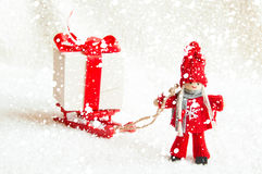 Julplats med trädockor Arkivfoto