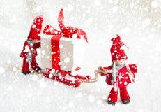 Julplats med trädockor Royaltyfria Foton