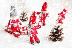 Julplats med trädockor Royaltyfria Bilder