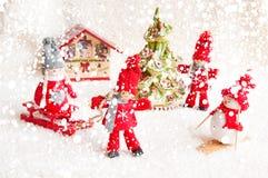 Julplats med trädockor Royaltyfri Foto