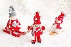 Julplats med trädockor Arkivfoton