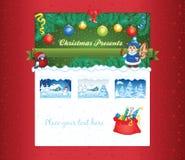 Julpresentaffärmall Arkivbilder
