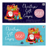 Julpresentkort med den förskottsbetalda summamallen stock illustrationer