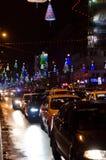 Julprydnadar på den rumänska boulevarden Royaltyfri Foto
