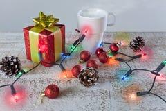 Julprydnadar på en bakgrund Royaltyfri Fotografi