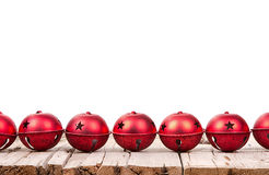Julprydnadar på en träplanka Fotografering för Bildbyråer