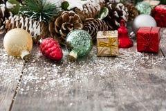 Julprydnadar på trä Royaltyfria Bilder