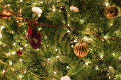 Julprydnadar på tree Arkivfoton