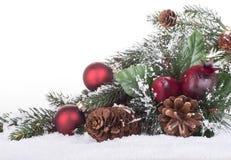Julprydnader i snö Fotografering för Bildbyråer