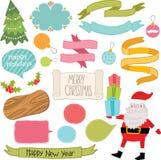 Julprydnader och dekorativ beståndsdeluppsättning. Arkivbild