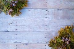 Julprydnader på en wood bakgrund Arkivbild