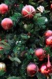 Julprydnader på träd arkivbild