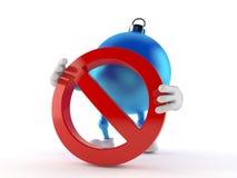 Julprydnadtecken med det förbjudna tecknet royaltyfri illustrationer