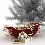 Julpulkor av jultomten med gåva- och julträdet Royaltyfri Bild