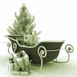Julpulkor av jultomten med gåva- och julträdet Arkivfoton