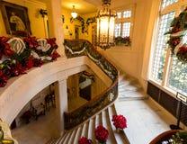 Julpynt i den Pittock herrgården Arkivbild