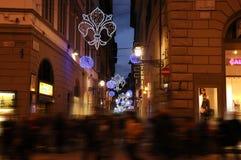 Julpynt i mitten av Florence Arkivfoton
