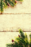 Julpynt med granträdfilialen och snöflingor Arkivfoton