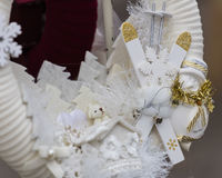 Julpynt med skidar och poler Royaltyfri Foto