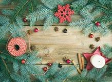 Julpynt: päls-träd filialer, färgrika glass bollar arkivfoto