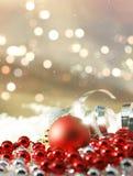 Julpynt på bokehljus Arkivfoton