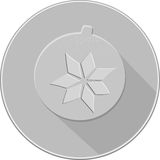 Julpyntsymbol snöflingasfärsymbol skuggor av grå färger Royaltyfri Foto