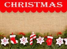 Julram med det vintergröna granträdet med kopieringsutrymme för Royaltyfri Foto