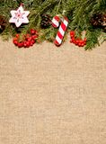 Julram med det vintergröna granträdet med kopieringsutrymme för Arkivfoto