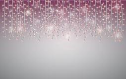 Julram med en glödande girland Ljusa stjärnor och lampor f royaltyfri illustrationer