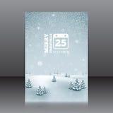 Julreklamblad med vinterlandskap och snöflingor Fotografering för Bildbyråer