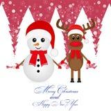 Julren och en snowman royaltyfri illustrationer