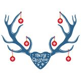 Julrenhorn på kronhjort som isoleras på svart bakgrund royaltyfri illustrationer
