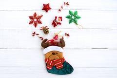 Julrenstrumpa med garnering royaltyfria foton
