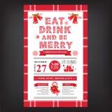 Julrestaurang och partimeny, inbjudan Royaltyfri Bild