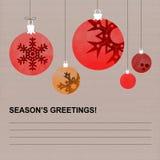 Julsäsongs kort för hälsningar med röda dekorerade jordklot stock illustrationer