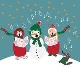 Julsånger, barn med snögubben och hund som sjunger, vektorillustration royaltyfri illustrationer