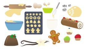 Julsötsaker som lagar mat den isolerade samlingen Arkivfoto