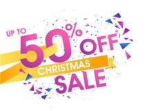 JulSale affisch, baner eller reklamblad Royaltyfria Foton