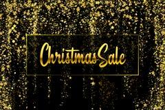 JulSale guld blänker konfettitextur på en svart bakgrund Guld- julbaner Guld- kornigt dammabstrakt begrepp stock illustrationer