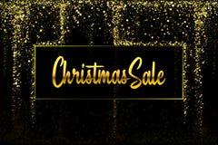 JulSale guld blänker konfettitextur på en svart bakgrund Guld- julbaner Guld- kornigt dammabstrakt begrepp vektor illustrationer