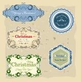 Julsamling av baner och etiketter Arkivbilder